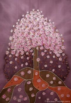 Violetinis medis. Tapyba ant šilko