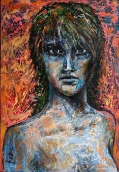Paveikslas su merginos portretu