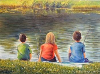Paveikslas su žvejojančiais vaikais