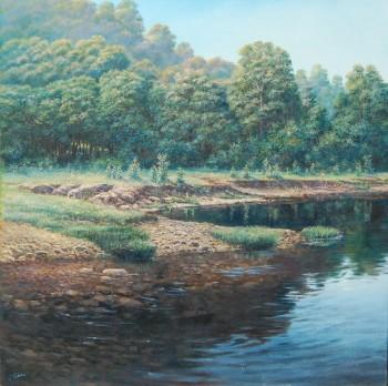 Oleg Riabčuk paveikslas su upės krantu