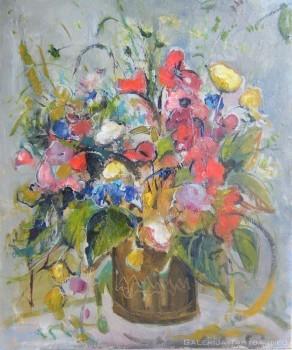 Paveikslas su spalvotų gėlių puokšte