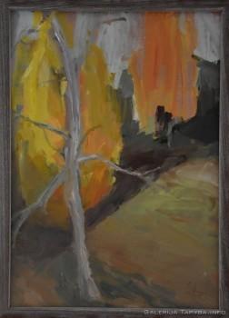 Paveikslas su geltonais medžiais
