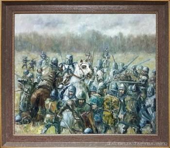 Paveikslas su senovės mūšiu tarp kryžiuočių ir prūsų