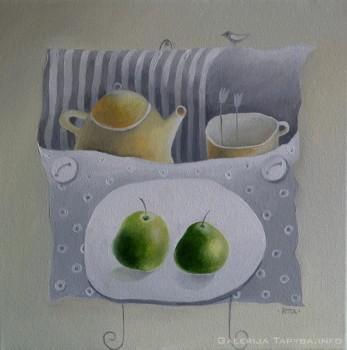 Paveikslas su arbatinuku ir puodeliu
