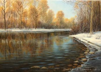 paveikslas upė žiemą
